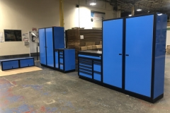 Sky Blue Aluminum Cabinets with Black Anodized Frames